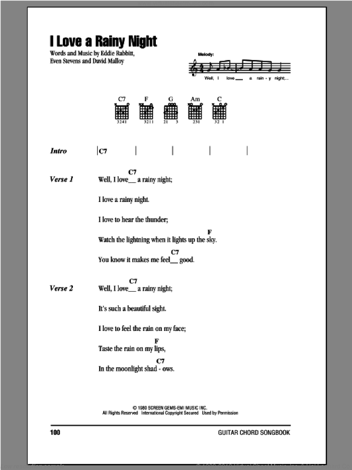 I Love A Rainy Night sheet music for guitar (chords) by Eddie Rabbitt, David Malloy and Even Stevens, intermediate. Score Image Preview.