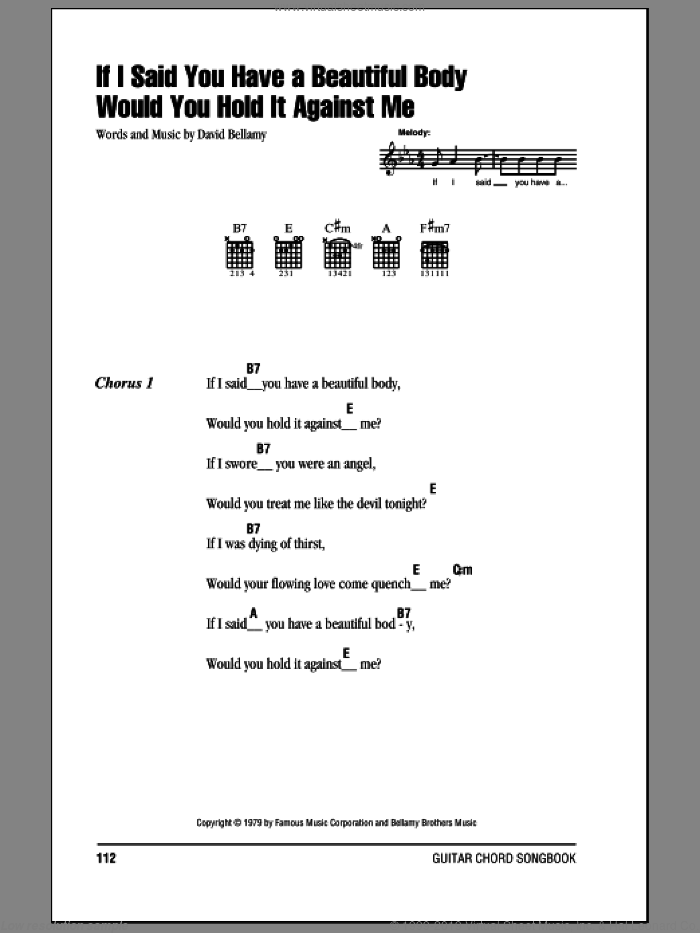 If I Said You Have A Beautiful Body Would You Hold It Against Me sheet music for guitar (chords) by David Bellamy. Score Image Preview.