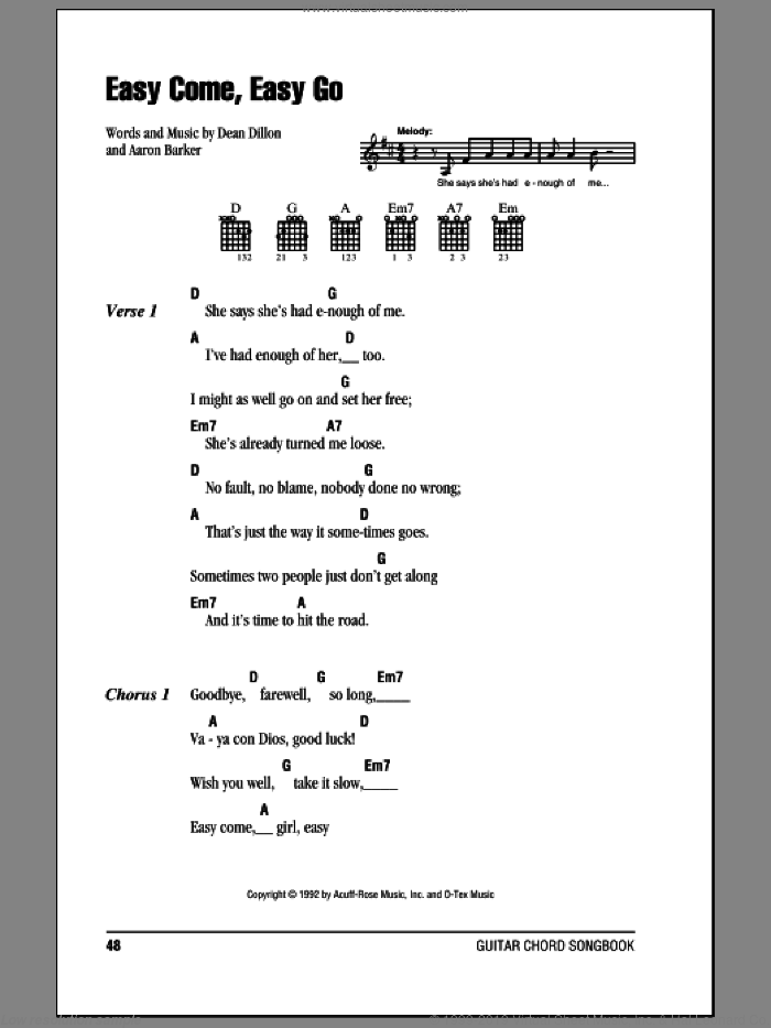 Easy Come, Easy Go sheet music for guitar (chords) by George Strait, Aaron Barker and Dean Dillon, intermediate skill level