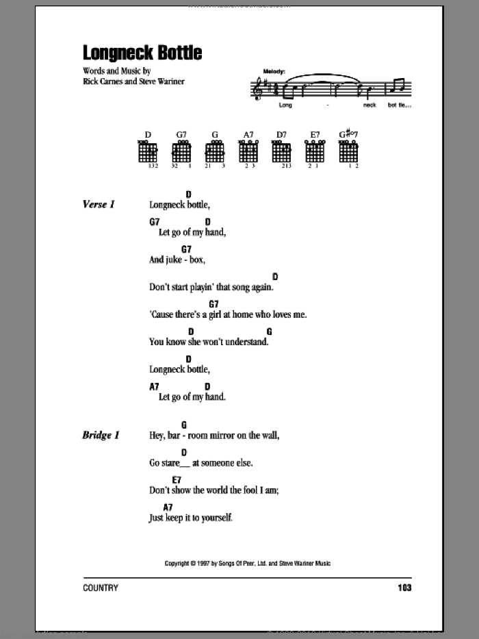 Longneck Bottle sheet music for guitar (chords) by Garth Brooks and Steve Wariner, intermediate guitar (chords). Score Image Preview.