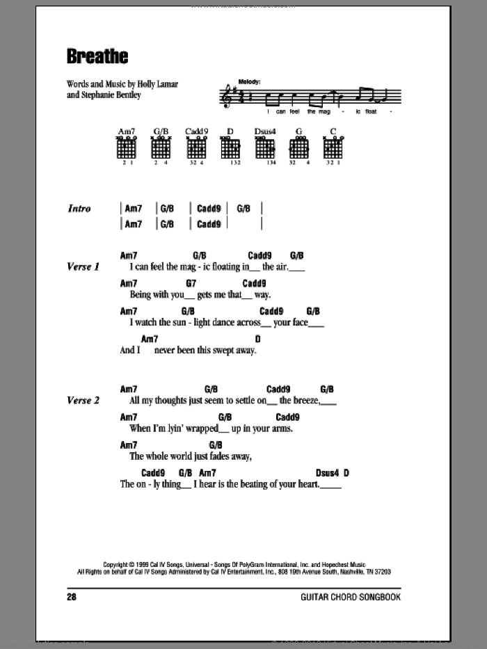 Breathe sheet music for guitar (chords) by Faith Hill, Holly Lamar and Stephanie Bentley, intermediate. Score Image Preview.