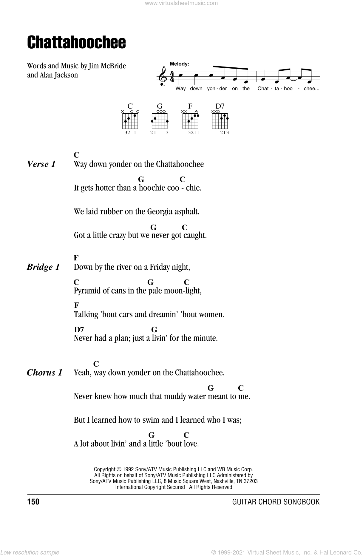 Chattahoochee sheet music for guitar (chords) by Alan Jackson and Jim McBride, intermediate. Score Image Preview.