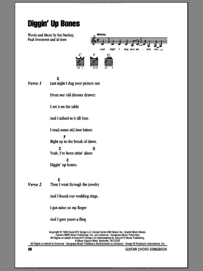 Diggin' Up Bones sheet music for guitar (chords, lyrics, melody) by Paul Overstreet