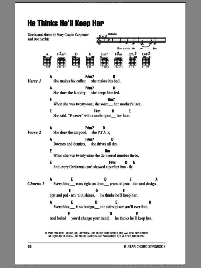 He Thinks He'll Keep Her sheet music for guitar (chords) by Don Schlitz