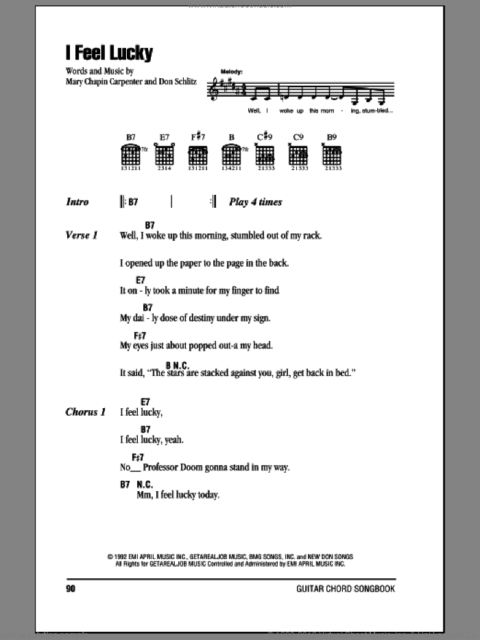 I Feel Lucky sheet music for guitar (chords, lyrics, melody) by Don Schlitz