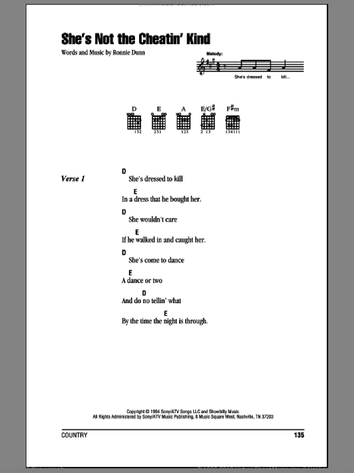 She's Not The Cheatin' Kind sheet music for guitar (chords) by Brooks & Dunn and Ronnie Dunn, intermediate. Score Image Preview.