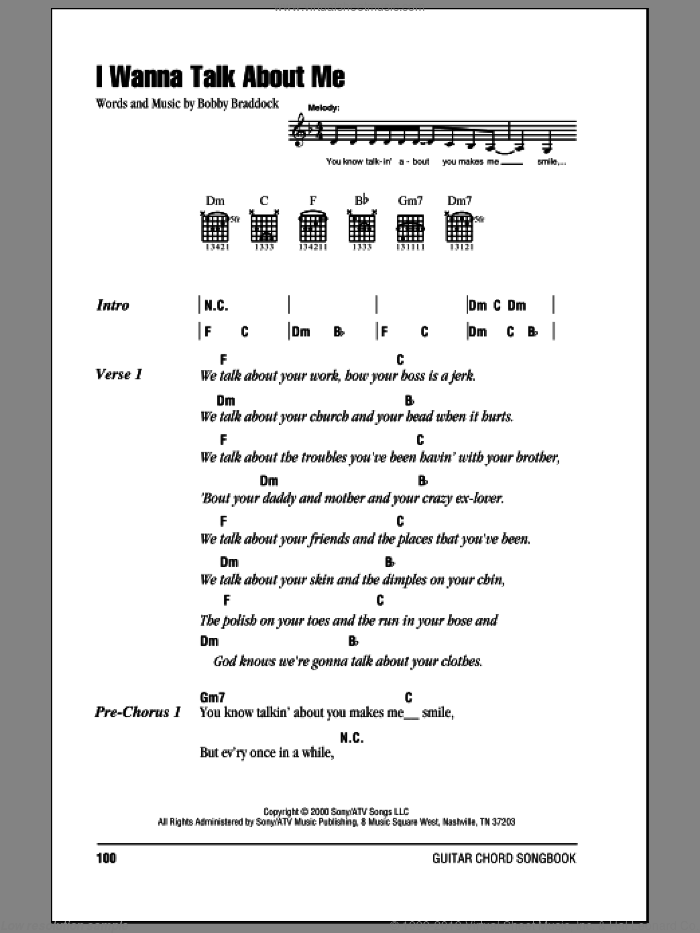 I Wanna Talk About Me sheet music for guitar (chords) by Bobby Braddock and Toby Keith. Score Image Preview.