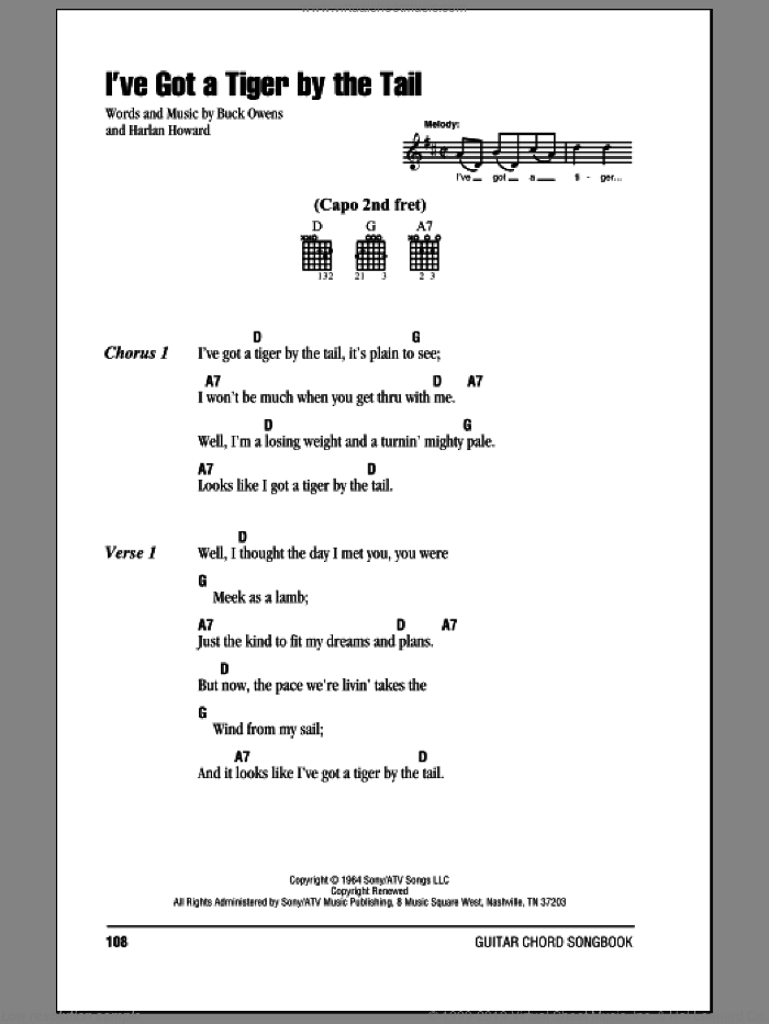 I've Got A Tiger By The Tail sheet music for guitar (chords) by Buck Owens and Harlan Howard, intermediate guitar (chords). Score Image Preview.