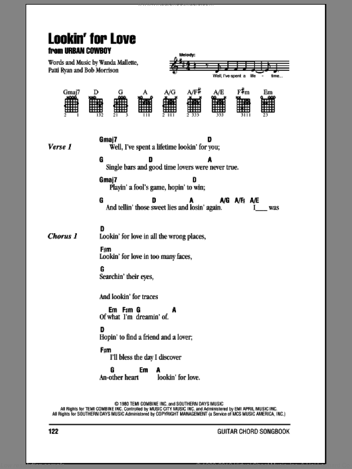 Lookin' For Love sheet music for guitar (chords) by Johnny Lee, Bob Morrison, Patti Ryan and Wanda Mallette, intermediate skill level