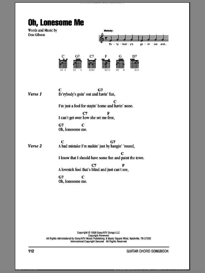 Oh, Lonesome Me sheet music for guitar (chords) by Don Gibson. Score Image Preview.