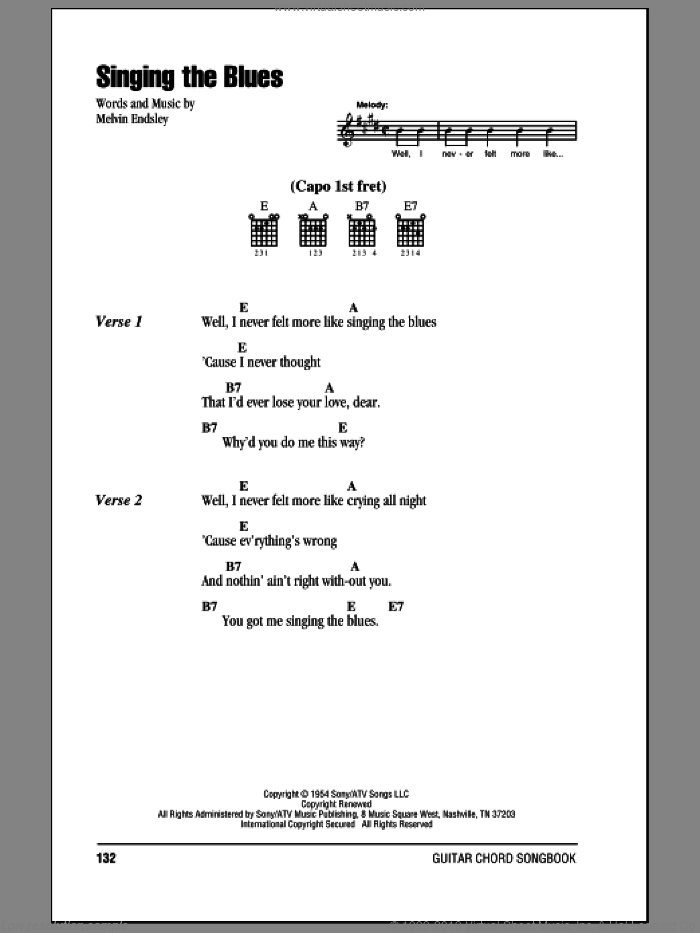 Singing The Blues sheet music for guitar (chords) by Guy Mitchell, Marty Robbins and Melvin Endsley, intermediate. Score Image Preview.