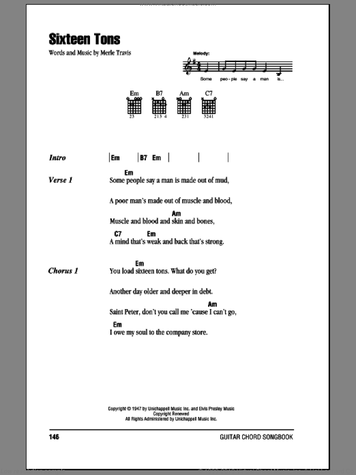 Sixteen Tons sheet music for guitar (chords) by Merle Travis and Tennessee Ernie Ford. Score Image Preview.