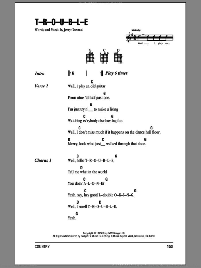 Presley - T-R-O-U-B-L-E sheet music for guitar (chords) [PDF]
