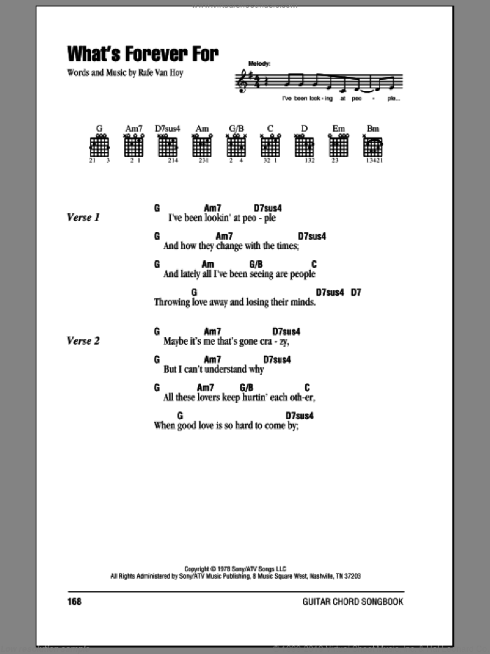 What's Forever For sheet music for guitar (chords) by Michael Martin Murphey and Rafe VanHoy, intermediate guitar (chords). Score Image Preview.