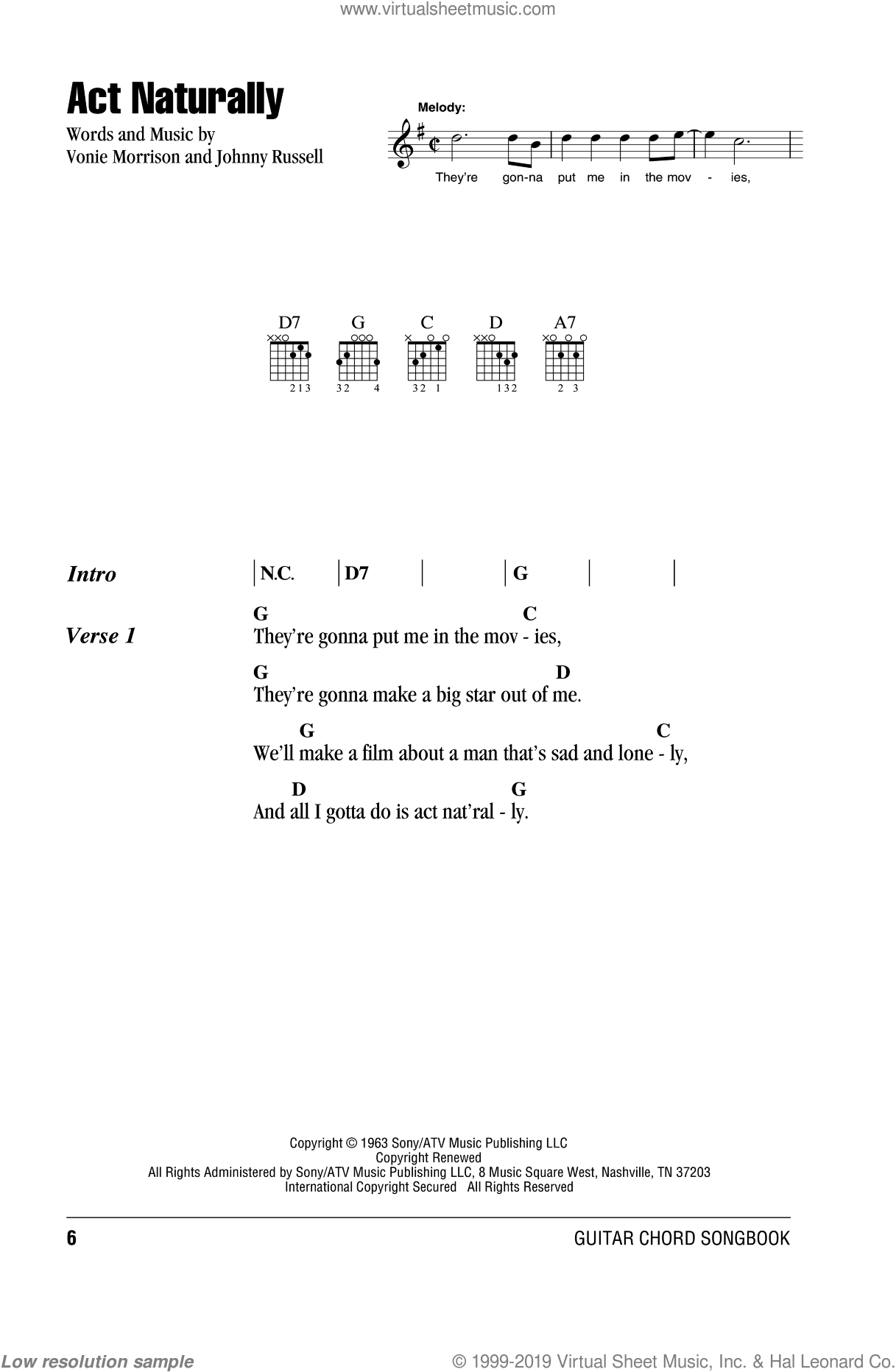 Act Naturally sheet music for guitar (chords) by Buck Owens, The Beatles, Johnny Russell and Vonie Morrison, intermediate skill level