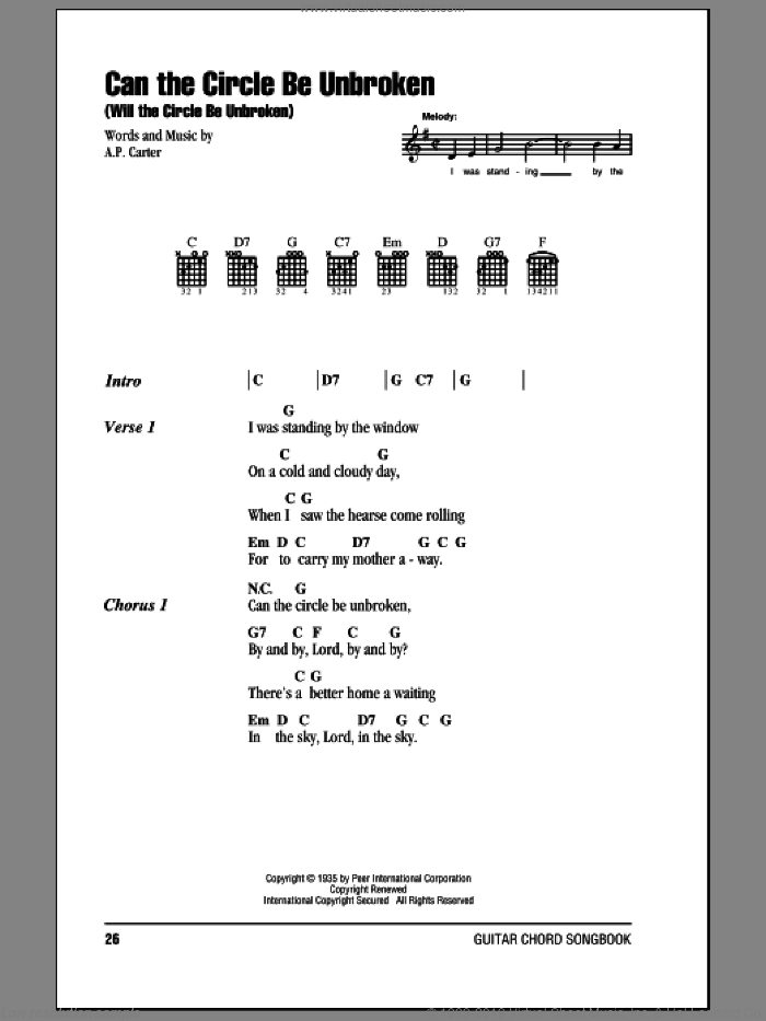 Can The Circle Be Unbroken (Will The Circle Be Unbroken) sheet music for guitar (chords) by A.P. Carter