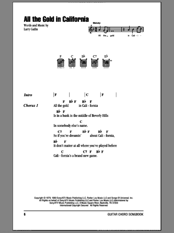 All The Gold In California sheet music for guitar (chords) by Larry Gatlin. Score Image Preview.