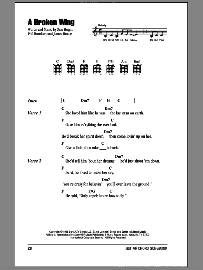 A Broken Wing sheet music for guitar (chords) by Martina McBride, James House, Phil Barnhart and Sam Hogin, intermediate. Score Image Preview.