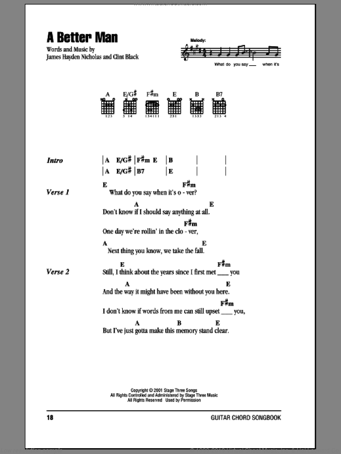 A Better Man sheet music for guitar (chords) by James Hayden Nicholas and Clint Black. Score Image Preview.