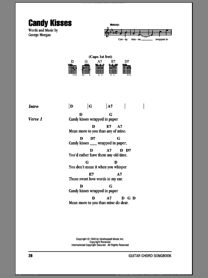 Candy Kisses sheet music for guitar (chords) by George Morgan. Score Image Preview.