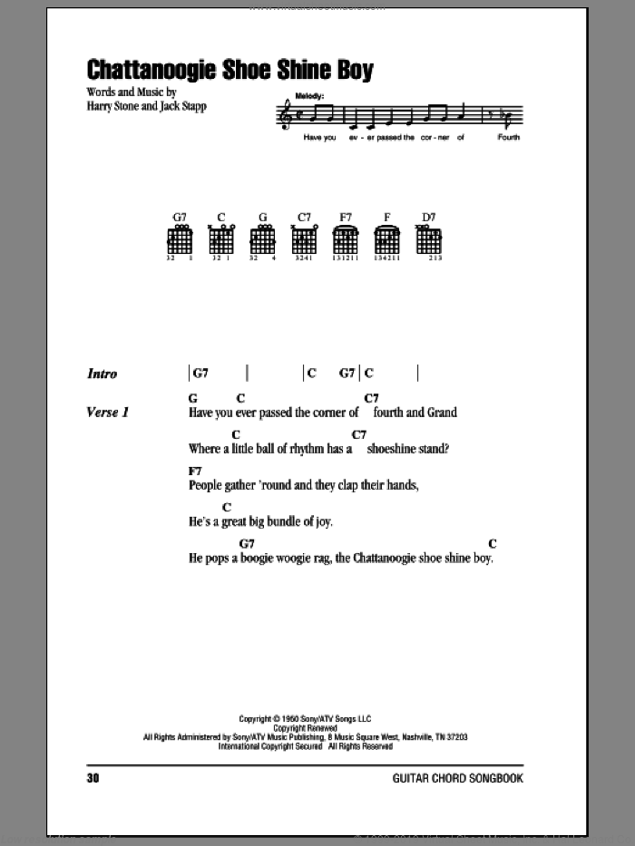 Chattanoogie Shoe Shine Boy sheet music for guitar (chords) by Red Foley, Harry Stone and Jack Stapp, intermediate. Score Image Preview.