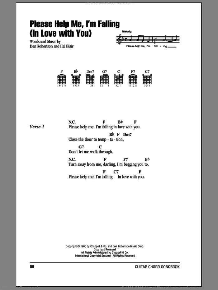 Please Help Me, I'm Falling (In Love With You) sheet music for guitar (chords) by Hank Locklin, Don Robertson and Hal Blair, intermediate skill level