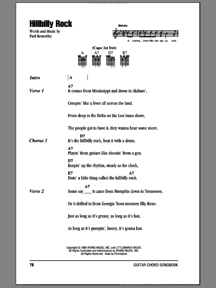 Hillbilly Rock sheet music for guitar (chords) by Marty Stuart and Paul Kennerley, intermediate. Score Image Preview.