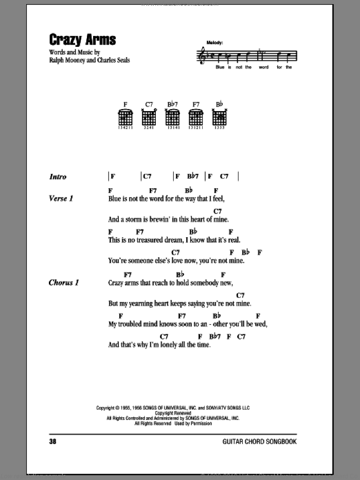 Crazy Arms sheet music for guitar (chords) by Ray Price, intermediate guitar (chords). Score Image Preview.