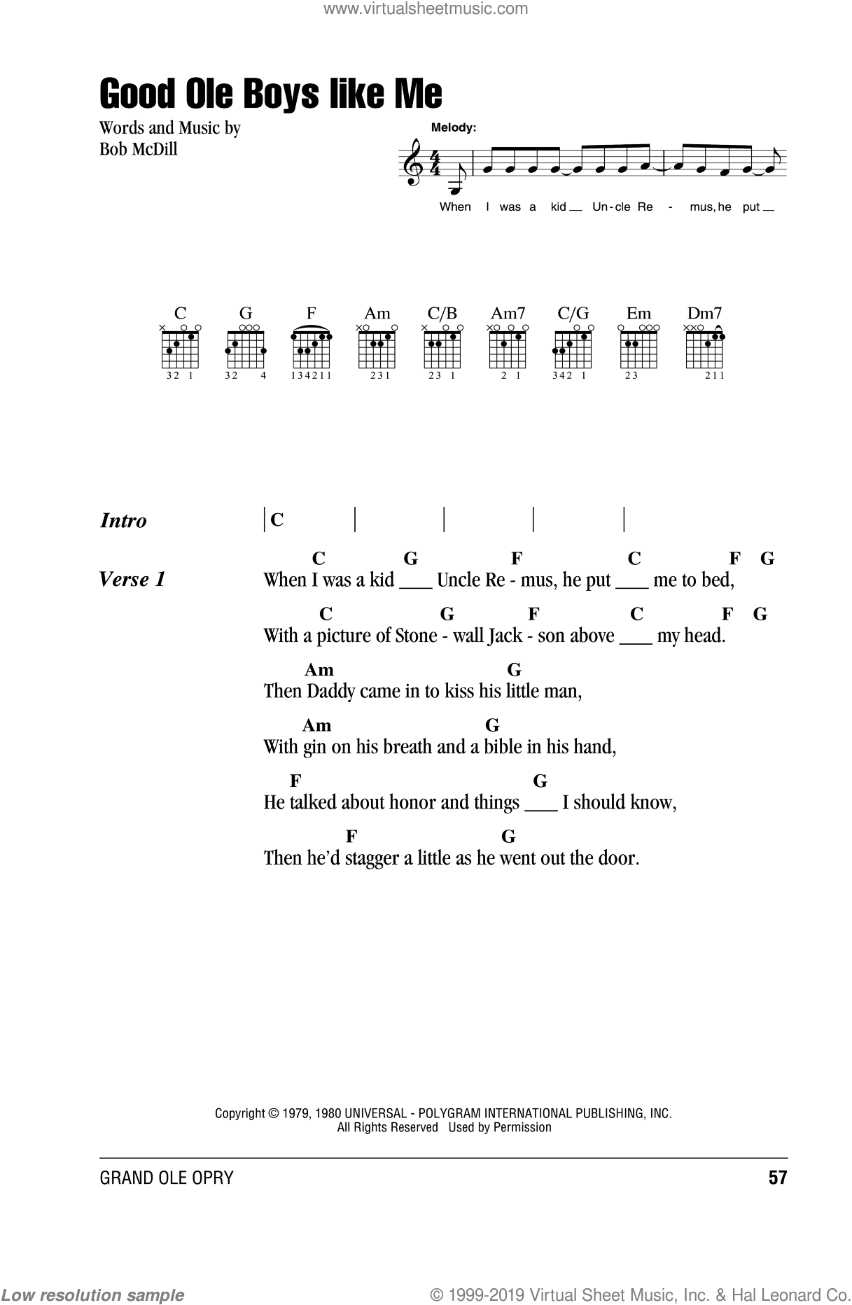 Good Ole Boys Like Me sheet music for guitar (chords) by Bob McDill and Don Williams. Score Image Preview.