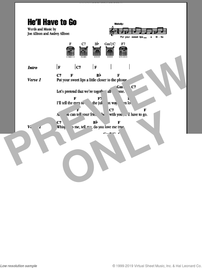 He'll Have To Go sheet music for guitar (chords) by Jim Reeves, Audrey Allison and Joe Allison, intermediate skill level