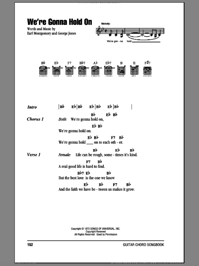 We're Gonna Hold On sheet music for guitar (chords) by George Jones & Tammy Wynette, Tammy Wynette, Earl Montgomery and George Jones, intermediate. Score Image Preview.
