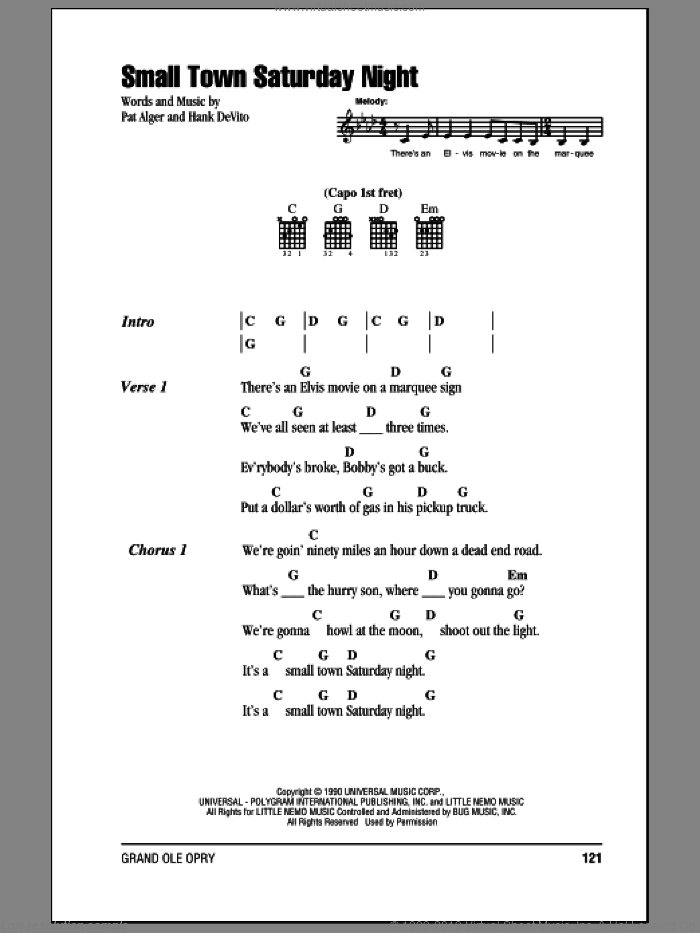 Small Town Saturday Night sheet music for guitar (chords) by Patrick Alger, Hal Ketchum and Hank DeVito. Score Image Preview.