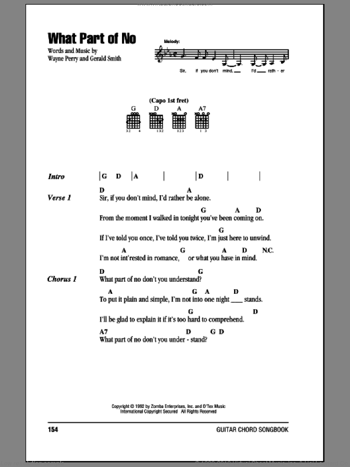 What Part Of No sheet music for guitar (chords) by Lorrie Morgan, intermediate. Score Image Preview.