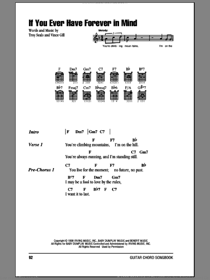 If You Ever Have Forever In Mind sheet music for guitar (chords) by Vince Gill and Troy Seals, intermediate