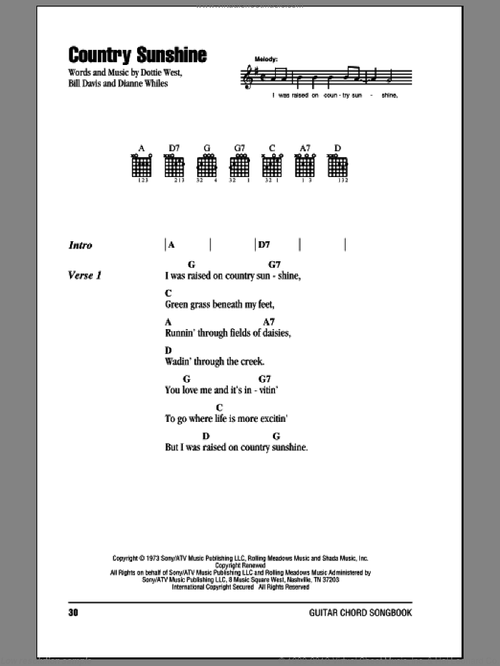 Country Sunshine sheet music for guitar (chords) by Dottie West, intermediate. Score Image Preview.