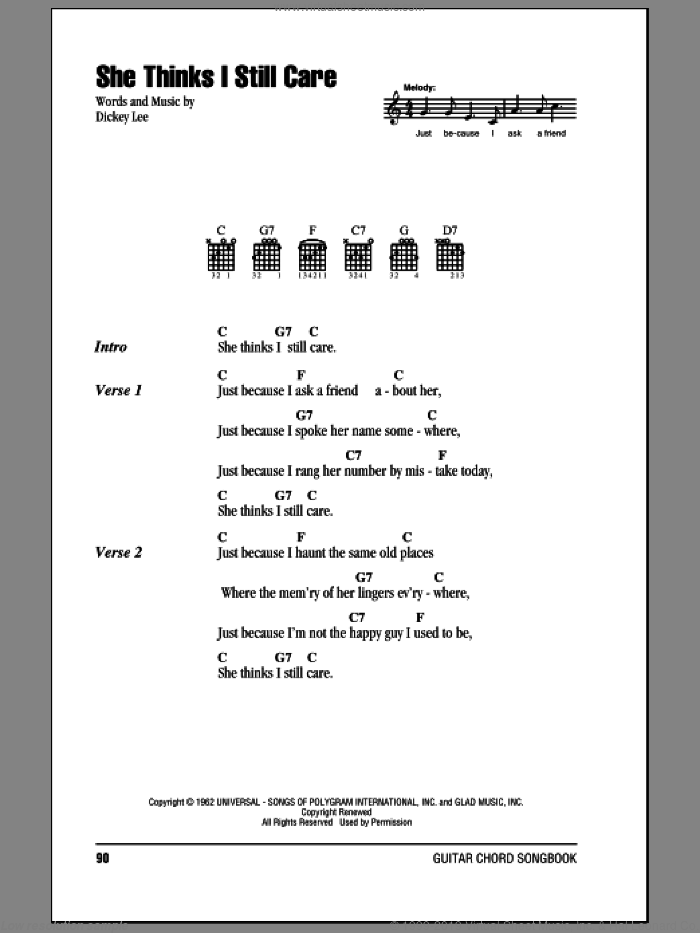 She Thinks I Still Care sheet music for guitar (chords) by George Jones and Dickey Lee. Score Image Preview.