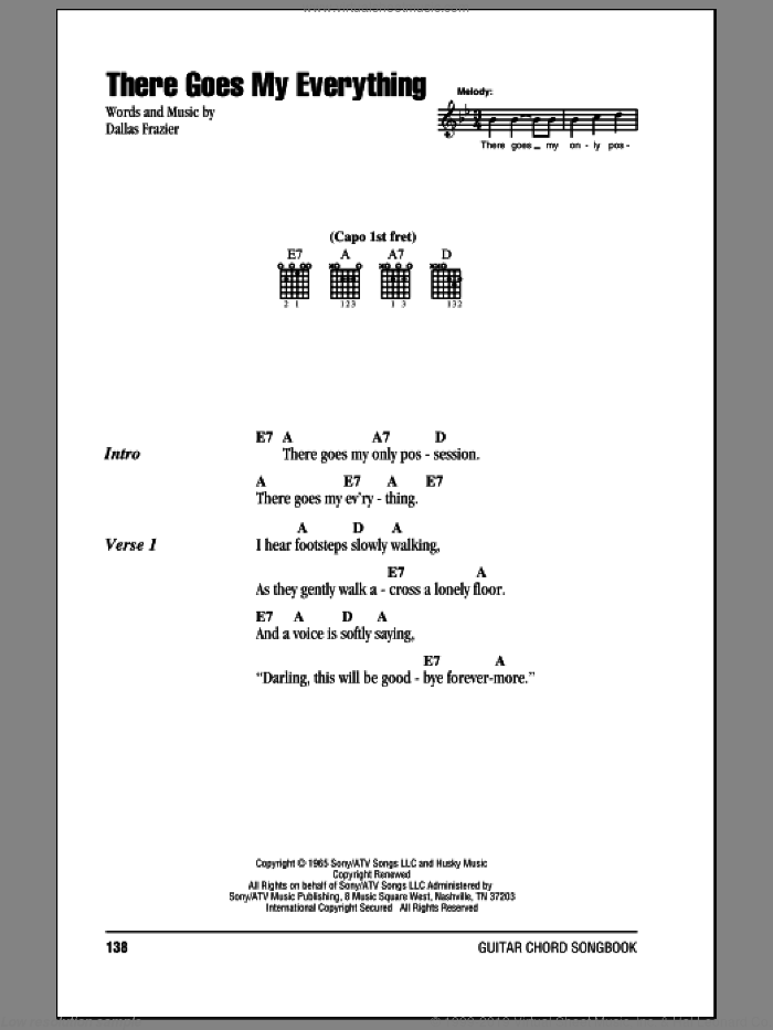 There Goes My Everything sheet music for guitar (chords) by Jack Greene, intermediate guitar (chords). Score Image Preview.