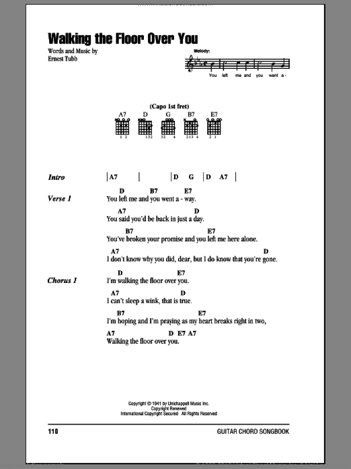 Walking The Floor Over You sheet music for guitar (chords) by Ernest Tubb
