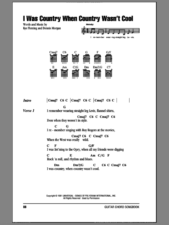 I Was Country When Country Wasn't Cool sheet music for guitar (chords) by Barbara Mandrell and Dennis Morgan, intermediate guitar (chords). Score Image Preview.