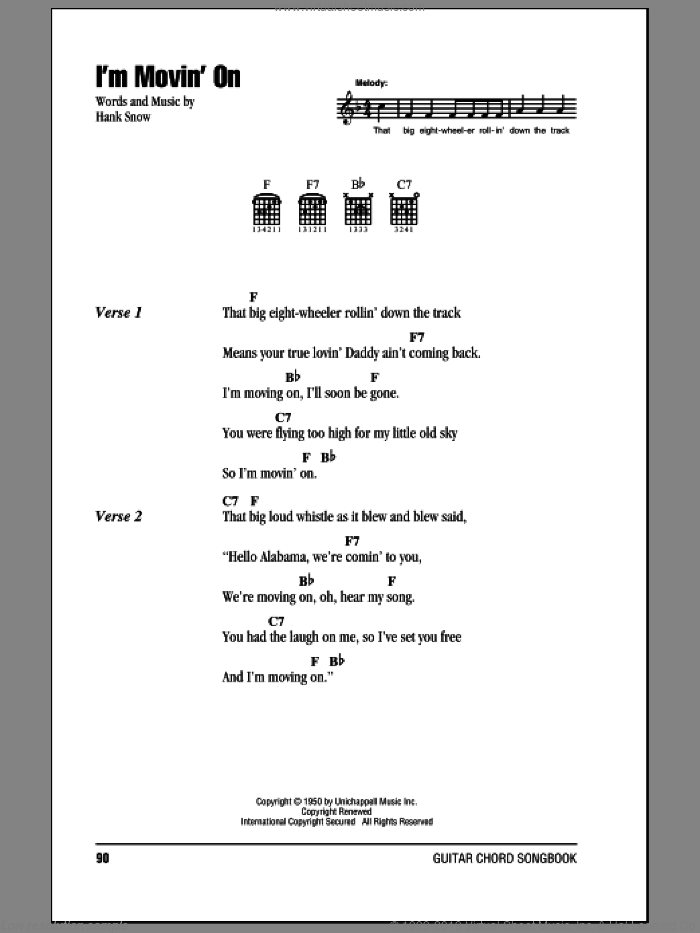 I'm Movin' On sheet music for guitar (chords) by Hank Snow. Score Image Preview.