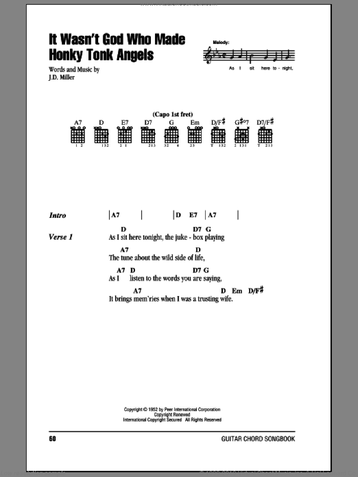 It Wasn't God Who Made Honky Tonk Angels sheet music for guitar (chords) by Kitty Wells, intermediate guitar (chords). Score Image Preview.