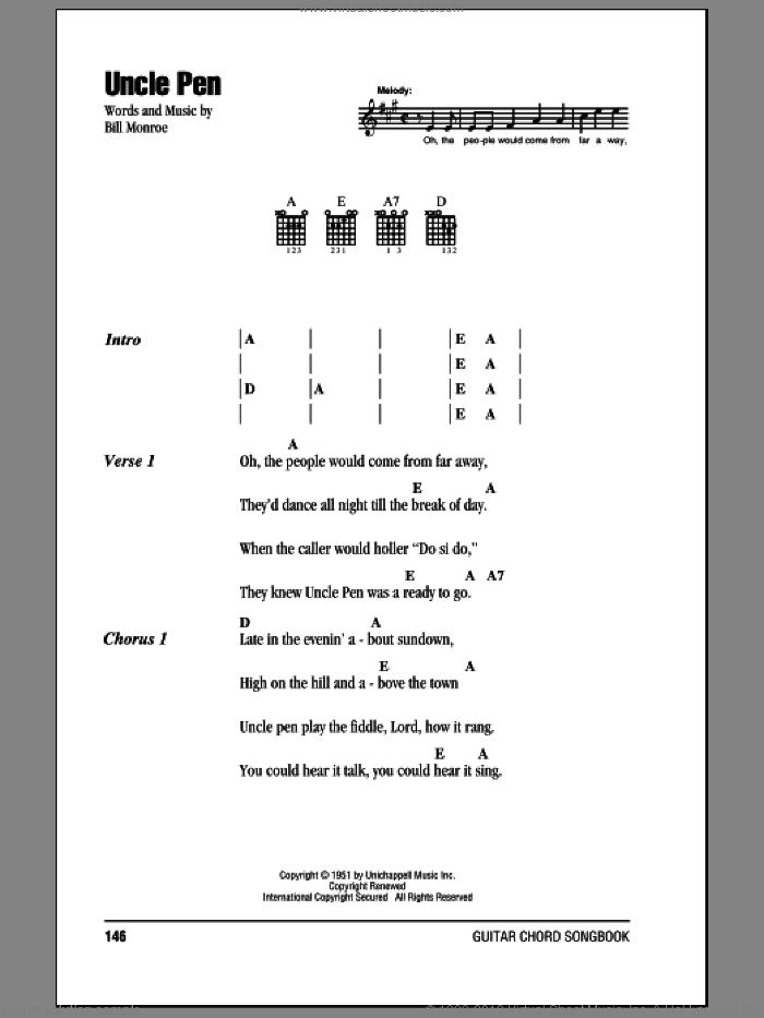 Uncle Pen sheet music for guitar (chords) by Bill Monroe. Score Image Preview.