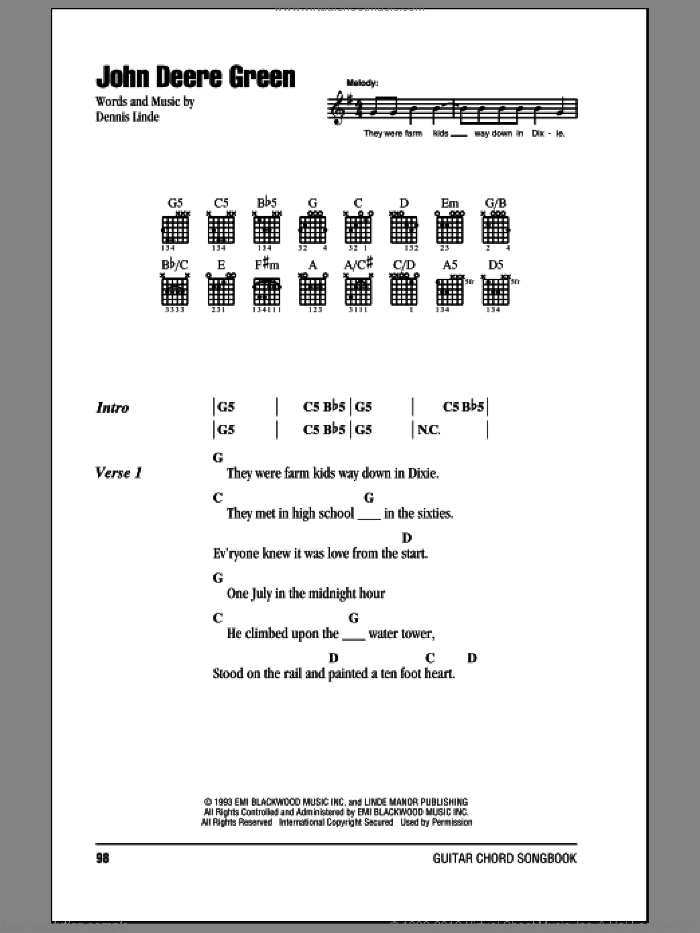 John Deere Green sheet music for guitar (chords) by Dennis Linde. Score Image Preview.