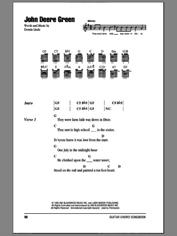John Deere Green sheet music for guitar (chords) by Joe Diffie and Dennis Linde, intermediate skill level