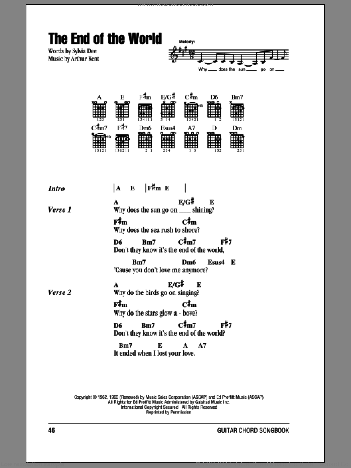 The End Of The World sheet music for guitar (chords) by Carpenters, Skeeter Davis, Arthur Kent and Sylvia Dee, intermediate skill level