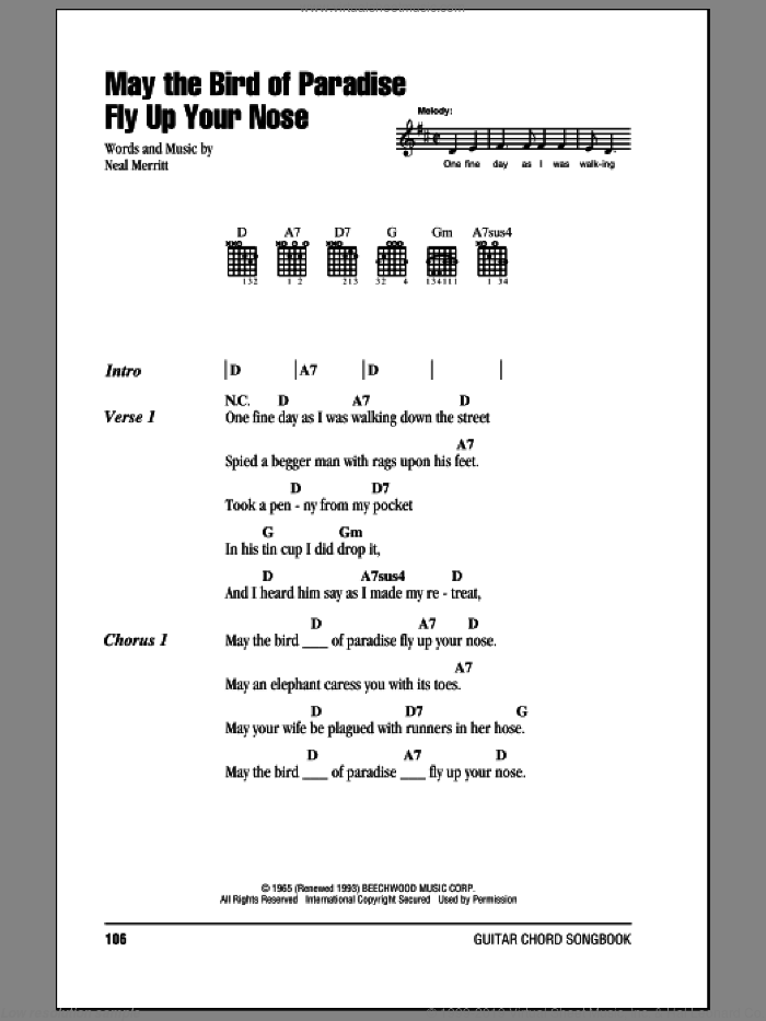 May The Bird Of Paradise Fly Up Your Nose sheet music for guitar (chords) by 'Little' Jimmy Dickens and Neal Merritt, intermediate skill level