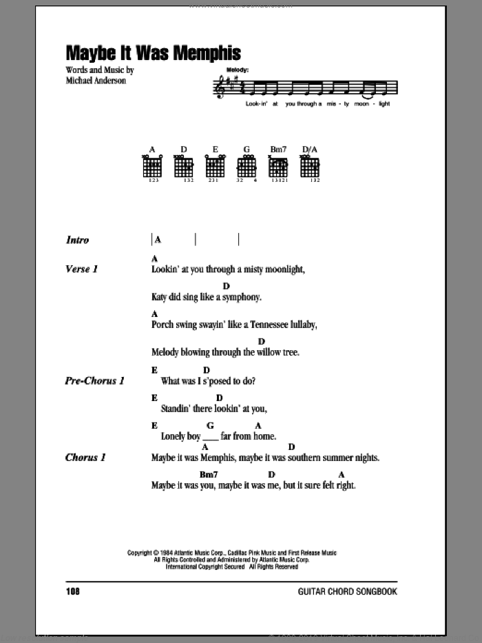 Maybe It Was Memphis sheet music for guitar (chords) by Pam Tillis and Michael Anderson, intermediate skill level