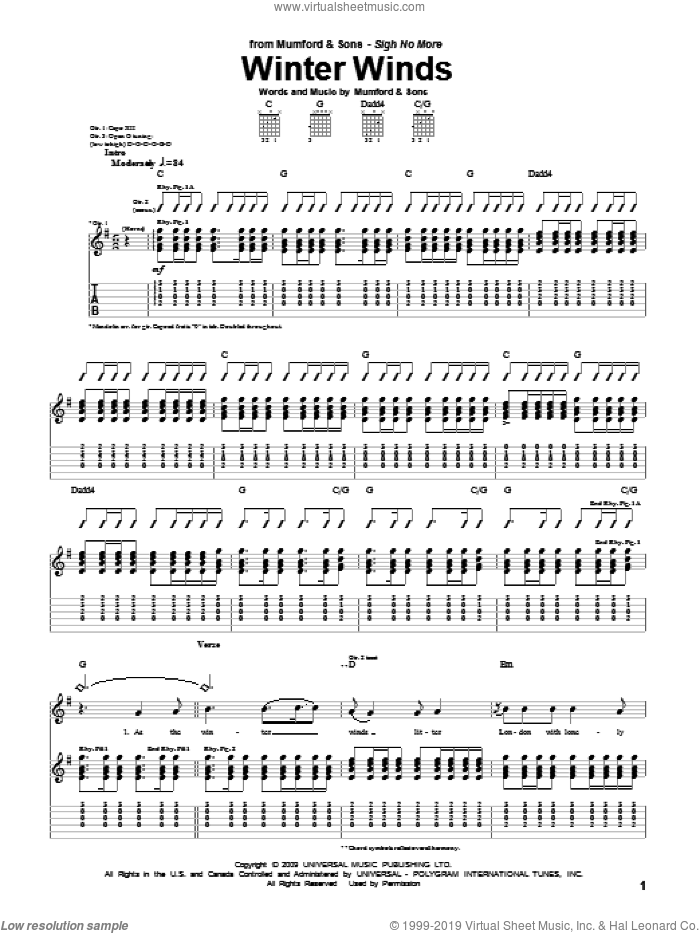 Winter Winds sheet music for guitar (tablature) by Marcus Mumford and Mumford & Sons. Score Image Preview.