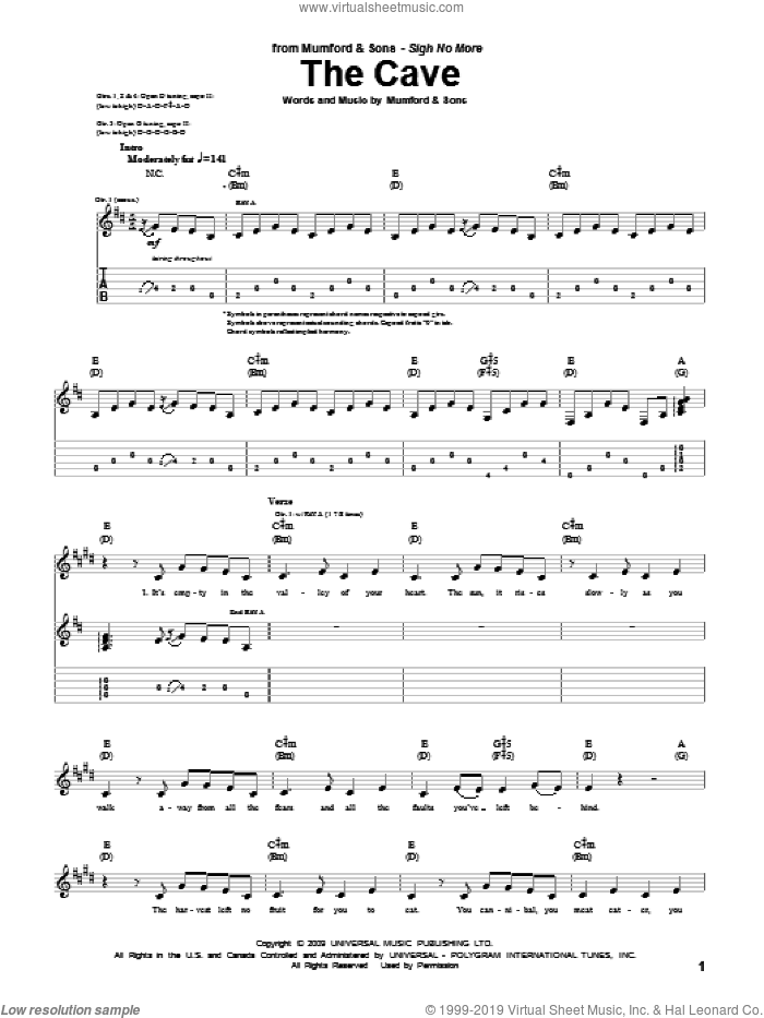 The Cave sheet music for guitar (tablature) by Mumford & Sons and Marcus Mumford, intermediate