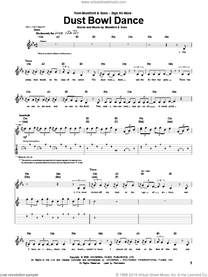 Dust Bowl Dance sheet music for guitar (tablature) by Marcus Mumford and Mumford & Sons. Score Image Preview.